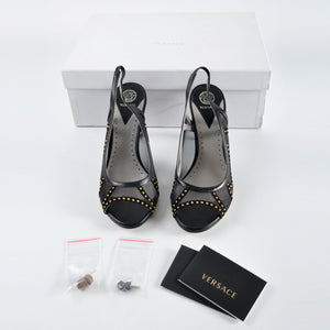 Versace Heels Sling Black T.90 Nappa+Camoscia+Borchie Size 36 1/2