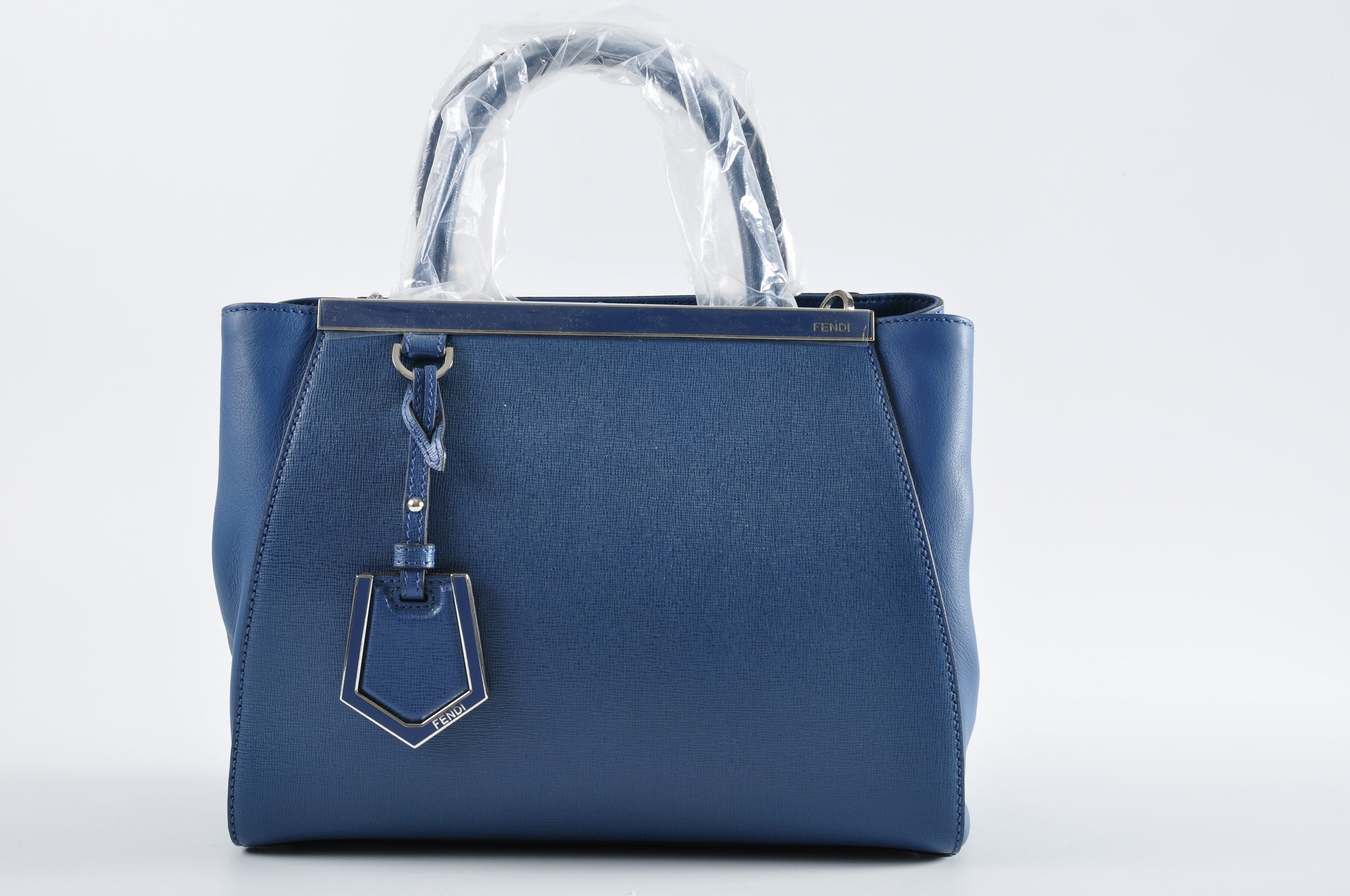 Fendi 2Jours Mini Tote Bag SM Vitello / Blu Cobalto + Palladio 8BH253