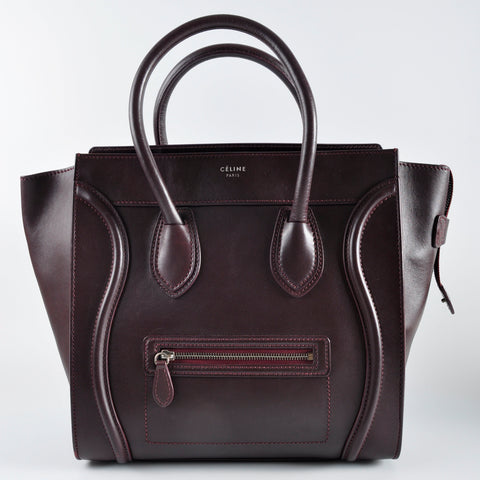 Celine Burgundy Mini Luggage Tote Bag F,SA,0123 F,MM,0163 - Glampot