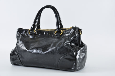 Prada Vitello Shine Double Zip Shopping Tote Satchel in Nero BN2324