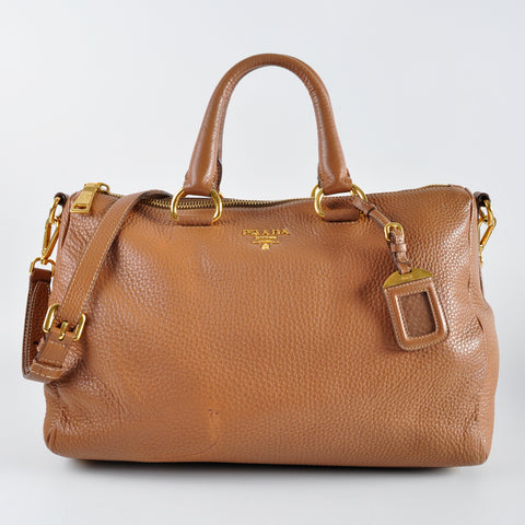 Prada BL0778 Cuoio Vitello Daino Top Handle Bauletto Bag