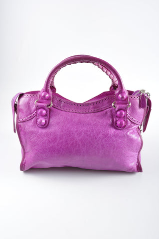 Balenciaga 204529 Sorbet Leather Giant Brogues Covered Motorcycle City Bag SHW 2008 Collection - Glampot