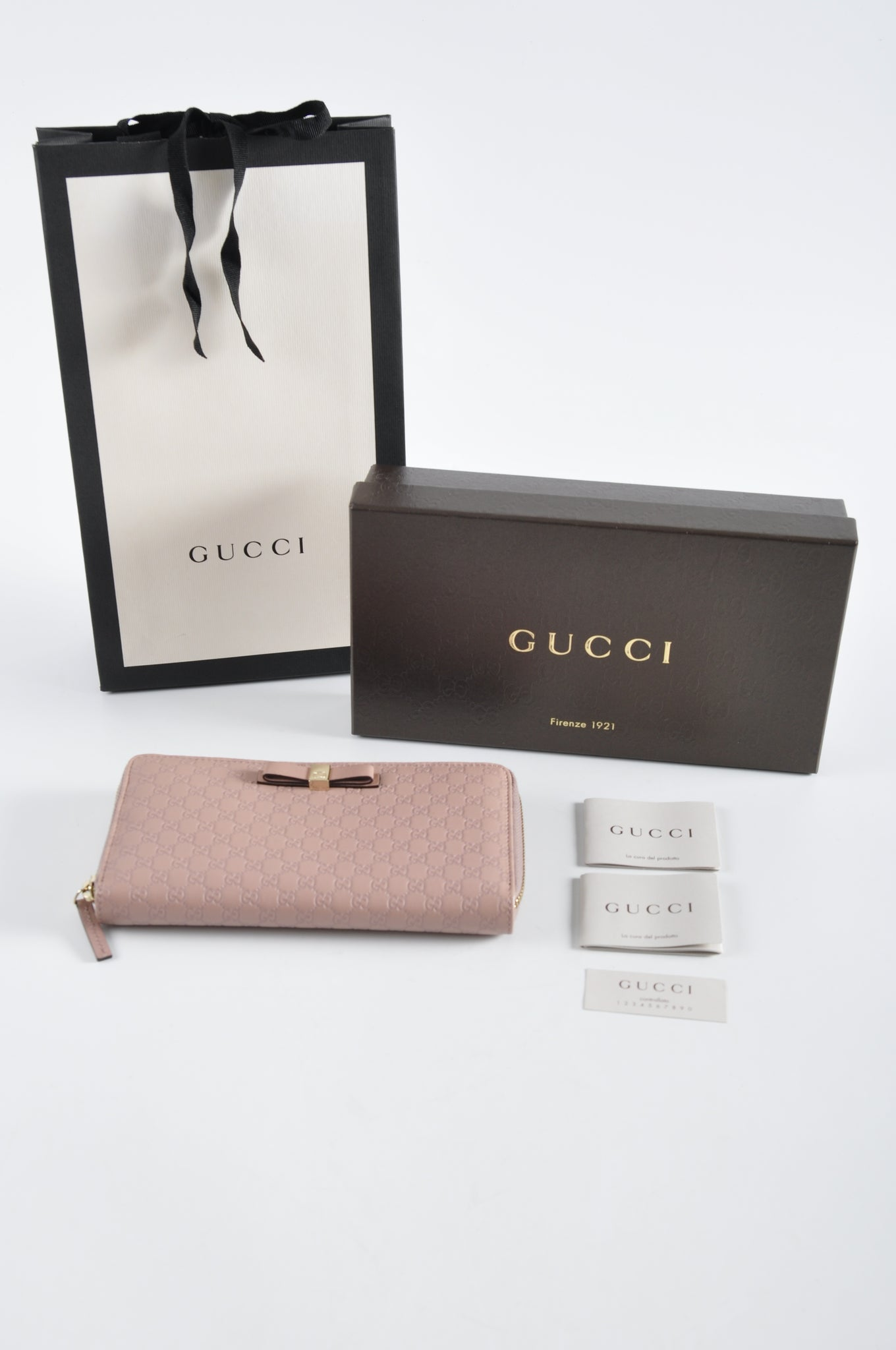 Gucci 388680 Light Pink Micro Guccissima Long Zip Around Bow Wallet
