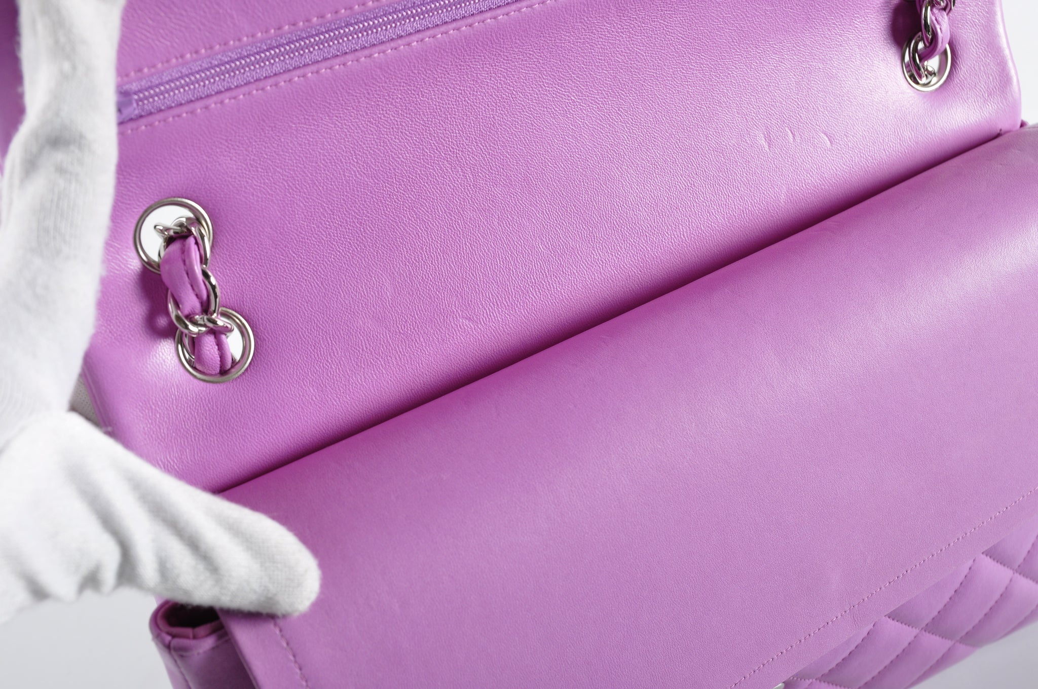 Chanel Jumbo Lambskin Double Flap in Bubblegum SHW 14858711 - Glampot