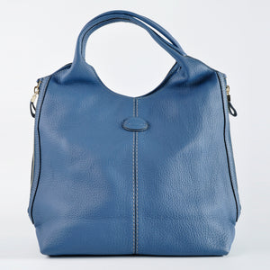 Tod's Alh Size Zip Medium Shopper Blue Leather Tote
