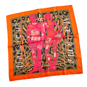 Hermès 41 x 41cm Monsieur et Madame II Silk Scarf in Orange/Pink/Khaki