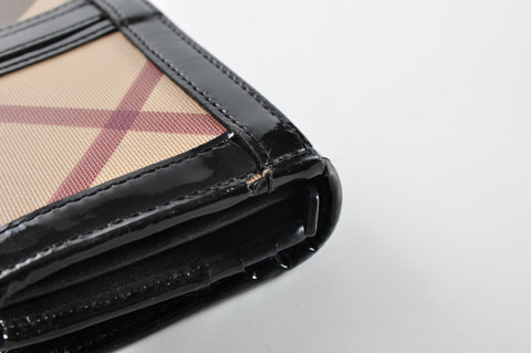 Burberry Nova Check Penrose Continental Black Patent Wallet - Glampot
