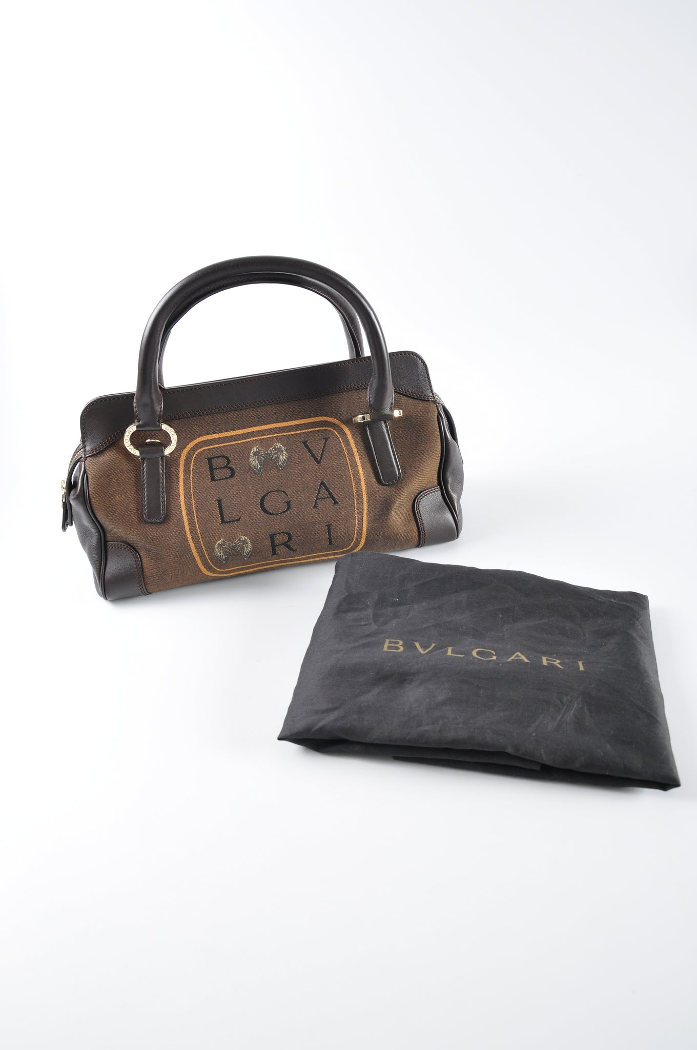 Bvlgari Brown Canvas Leather Top Handle Bag