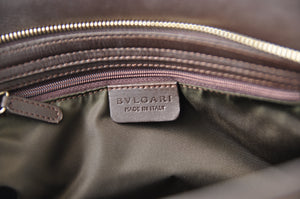 Bvlgari Brown Canvas Leather Top Handle Bag - Glampot