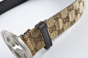 Gucci GG Guccissima Plus Monogram Interlocking G Belt Brown 114984 214 294 95 34