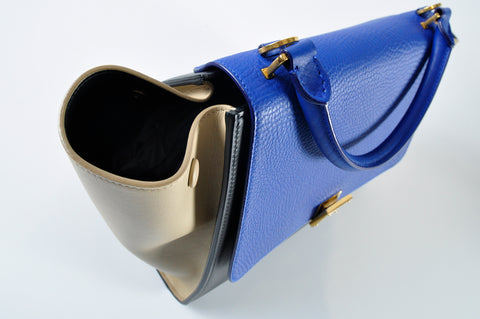 Céline Small Trapeze Tricolour in Cobalt Drummed Leather/ Black Calfskin / Nude Smooth Calfskin S-CU-0315 - Glampot