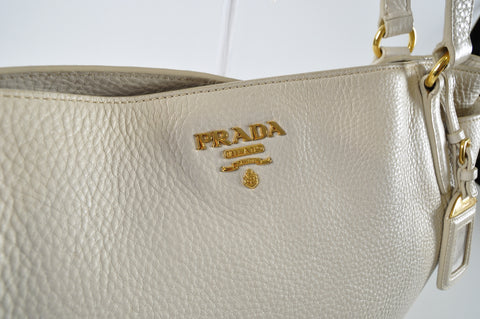 Prada BR4970 Vitello Daino Leather Double-Pocket Tote Bag in Talco