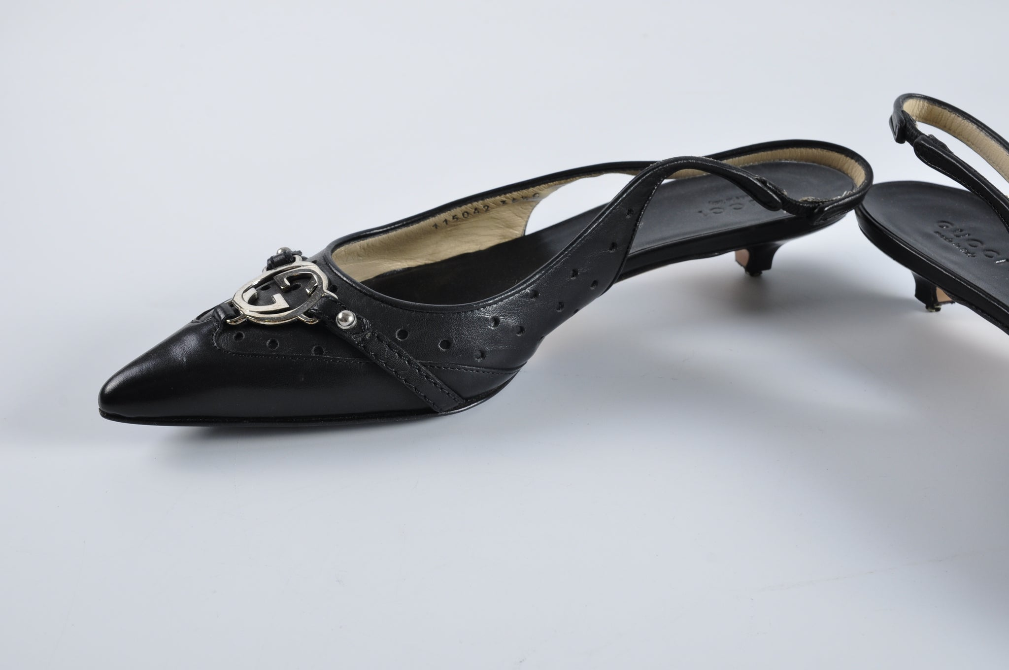 Gucci Black Perforated Leather Kitten Slingback Heels - Size 36
