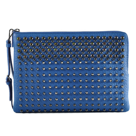 MCM Stark Special Crystal Studded Leather Clutch in Blue MXZ 6AVE69 LC001