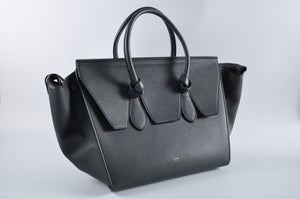 Céline Grained Calfskin Tie Knot Small Tote Anthracite UMP 0124 - Glampot
