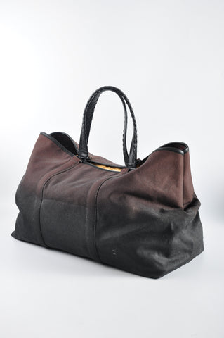 Bottega Veneta Oversized Canvas Ombre Tote with Weaved Leather Handles - Glampot