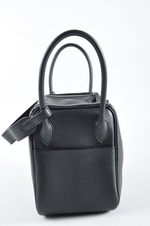 Hermès Lindy 26 Clemence Black with Toffee Interior Stamp AMA 008 DF