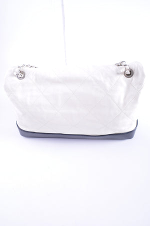 Chanel Seasonal White Aged Calfskin Large Quilted Soft CC Flap with Black Base 14174834 - Glampot