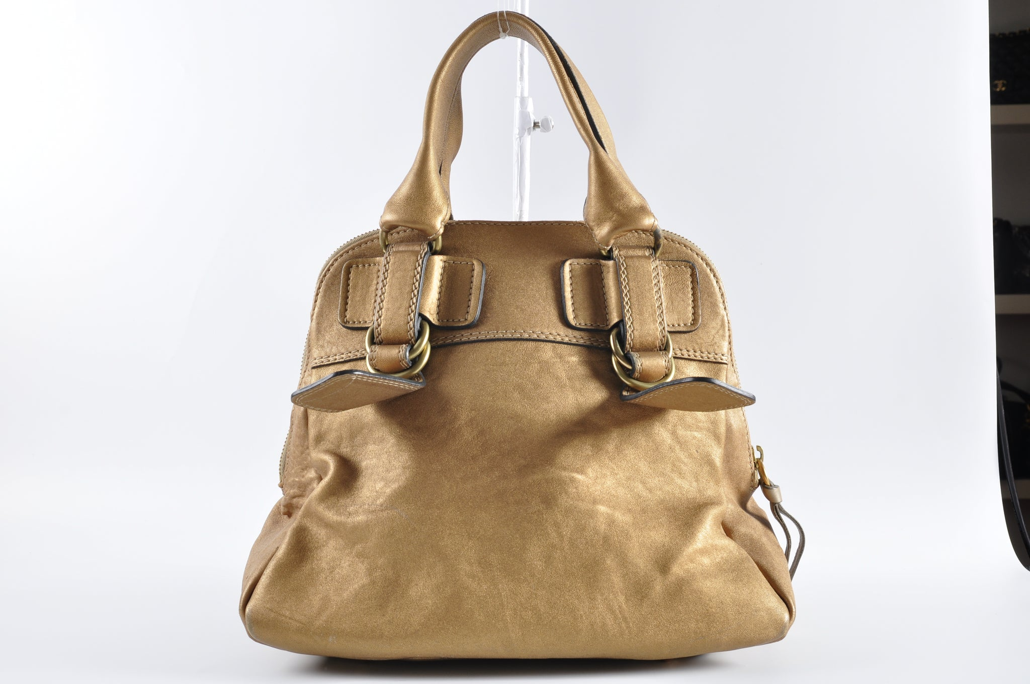 Chloe Metallic Gold Bay Bag - Glampot