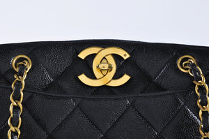 Chanel Vintage Tote in Black Caviar GHW Rare Collector's Piece - Glampot