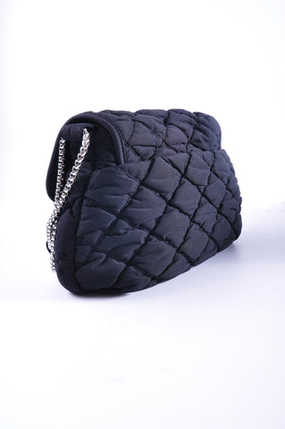 Chanel A46164 Black Jersey Bubble Quilted Flap Bag 12687788 - Glampot
