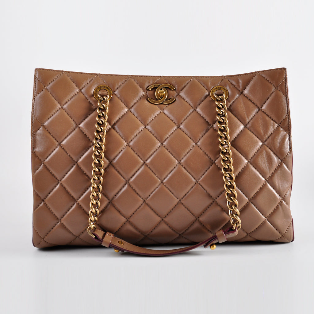 Chanel Brown Calf Leather GHW Tote - Glampot