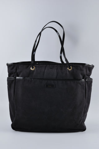 Anya Hindmarch Nevis Tote in Black Fabric with Patent Trim - Glampot