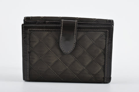 Burberry Brown Nylon Quilted Wallet with Patent Leather Trim and House Check Interior - Glampot