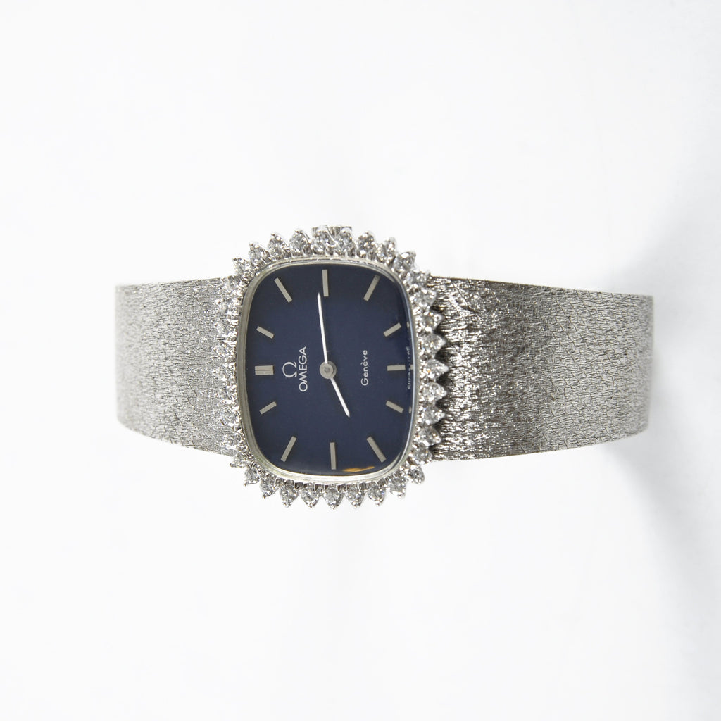 Omega Vintage 18K Solid White Gold with Diamonds
