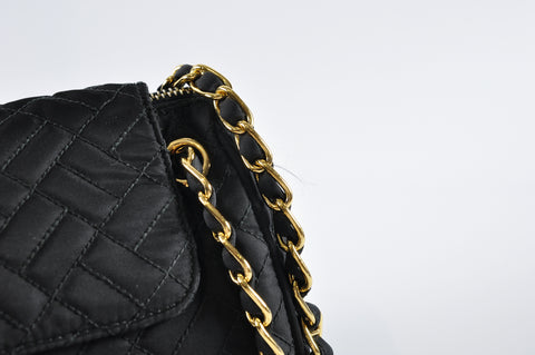 Prada Quilted Black Nylon Shoulder Bag with Gold Chain