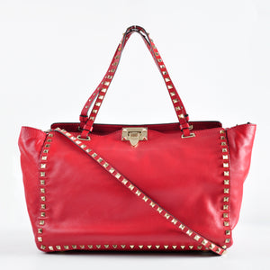 Valentino Rockstud Red Medium Trapeze Shopper