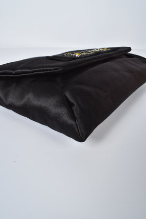 Lanvin Sac Pochette Plate Satin Clutch in Black