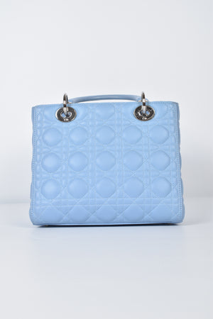 Christian Dior Medium Lady Dior in Baby Blue Cannage Lambskin SHW