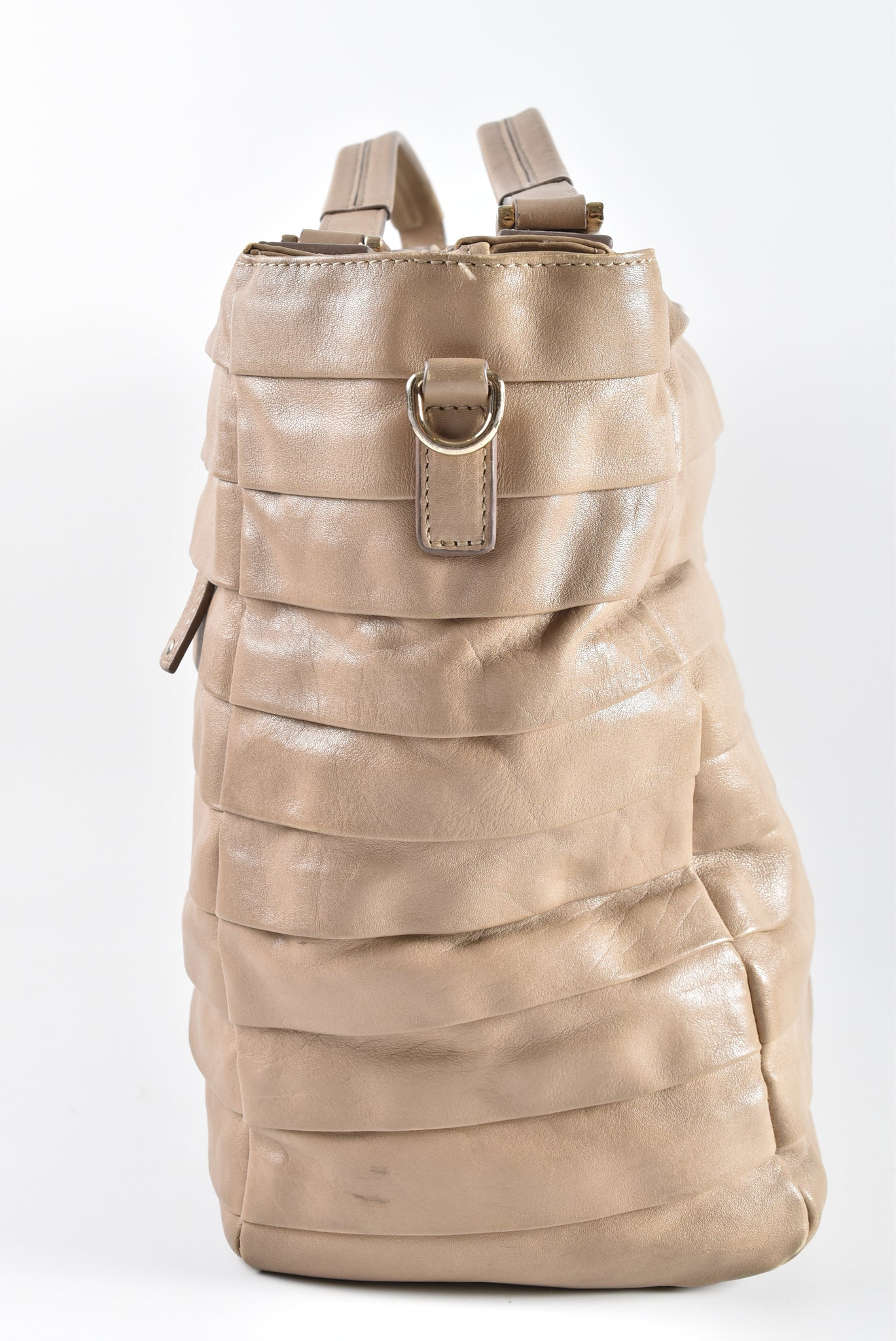 Anya Hindmarch Beige Pleated Leather Shoulder Bag - Glampot