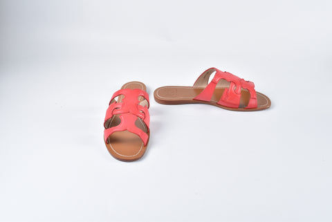 Tory Burch Anchor T Flat Slide Masai Red Antanado Leather Style No:11158011