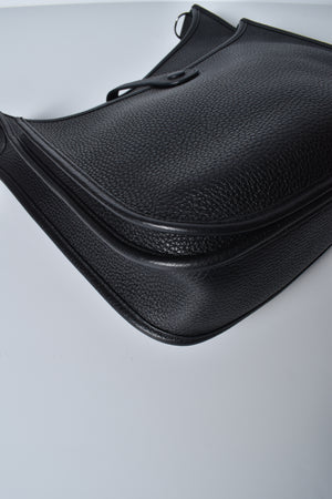 Hermes Black Evelyne GM Clemence Leather