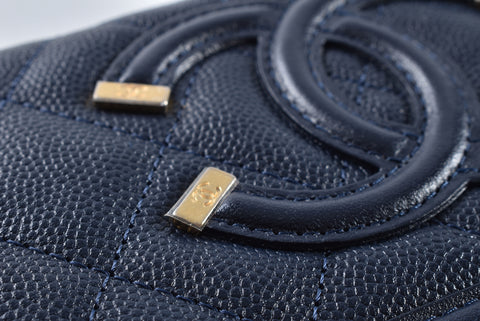 Chanel A84446 Zipped Wallet Navy Caviar 25607564 - Glampot