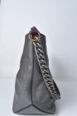 Chanel Mademoiselle Iridescent Caviar Medium Grey Leather Tote