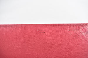 Prada 1M1290 Peonia Saffiano Metal Leather Wallet on Chain Clutch Bag