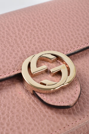 Gucci Interlocking Chain Wallet Pink Crossbody