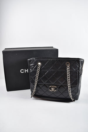 Chanel Aged Calf Black Seasonal Tote RHW 19746748