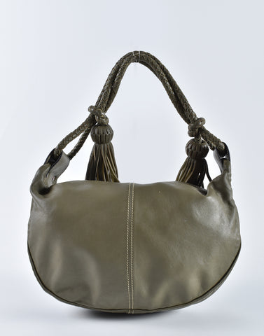 Mulberry Khaki Leather Tassel Shoulder Hobo