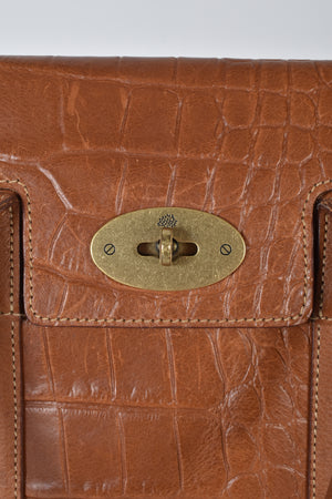 Mulberry Small Ledbury Embossed Croc Tan Leather Handbag
