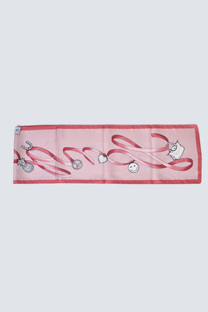 Longchamp Long Silk Scarf in Pink with Charms Illustration