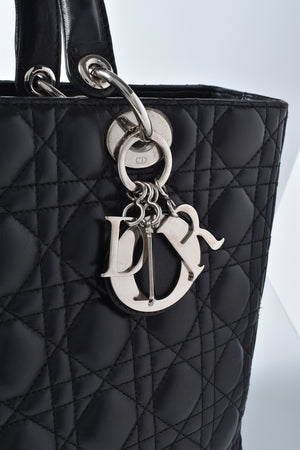 Christian Dior Black Cannage Quilted Lambskin Large Lady Dior Bag 05-MA-0069 (NO STRAP)