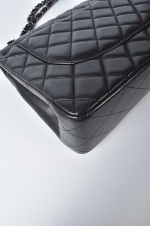 Chanel Black Quilted Lambskin Leather Classic Jumbo Double Flap Bag RHW