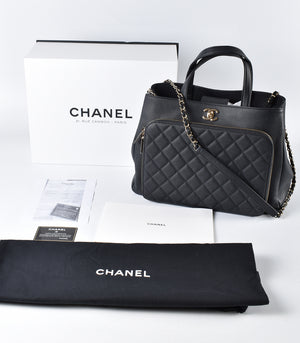 Chanel A93795 Black Caviar Leather Large Business Affinity Shopping Bag 28318097