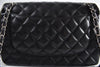 Chanel Black Quilted Lambskin Leather Classic Jumbo Double Flap Bag SHW