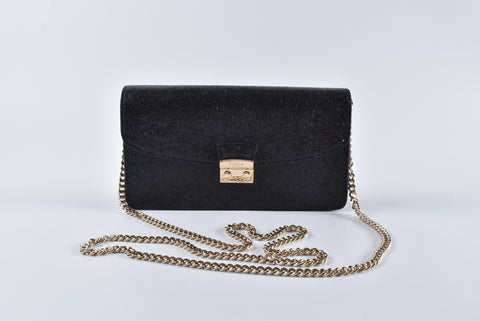 Furla Black Glitter Evening Metropolis Bag
