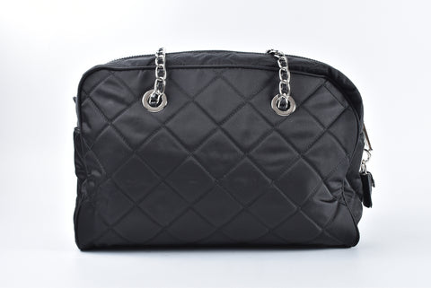d7b6c903b2d1c5 Prada 1BB903 Black Quilted Tessuto Nylon Shoulder Bag with Chain Accents